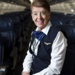 BOSTON - DECEMBER 8: Bette Burke-Nash is the longest serving flight attendant at US Airways. She now flies the shuttle flight between Boston and Washington. (Photo by Dina Rudick/The Boston Globe via Getty Images)